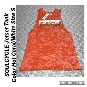 SOULCYCLE Jetset Tank Color Hot Coral/White Size S
